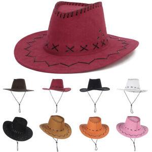 Womens Mens Hat Cowgirl Cowboy Wild West Sun Hats Western Fancy Wide Brim Cap