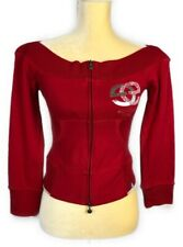 c99f13b7f1f Ecko Red Womens Red Long Sleeve Cropped Zip Up Sweatshirt Top Size Small