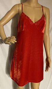 Secret Treasures Velvet Chemise Negligee Nightgown Red Large 12-14