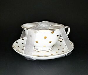2 PC SET GRACE TEAWARE PORCELAIN WHITE+METALLIC GOLD POLKA DOT TEA CUP+SAUCER