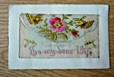 """ANTIQUE EMBROIDERED POSTCARD 2 butterflies """"to my dearwife""""pocket & card"""