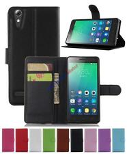 Leather  slot wallet stand flip Cover Case for Lenovo A6010/A6000 Plus