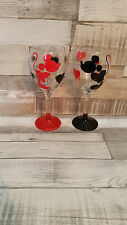 Mickey minnie mouse body wine glass 2 any colour glitter personalised red black