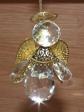 """Unbranded 3 1/2"""" Inch Clear & Gold Plastic Guardian Angel Christmas Ornament!"""