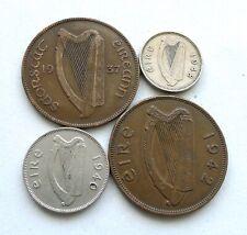 IRELAND 1937 + 1942 PENNIES, 1940 SIXPENCE + 1948 THREEPENCE. MIXED GRADES.