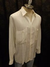 Classy Vtg Mondo Made In Italy White Chevron Pattern Button Down LS Shirt Mens L