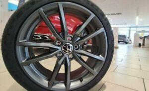 "BRAND NEW GENUINE VW 18"" PRETORIA ALLOY WHEELS SET GUN METAL GREY GTI R GTD GOLF"