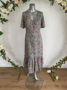 Influence Tea Dress Size 10 Green Floral Midi Button Up dress New HU103