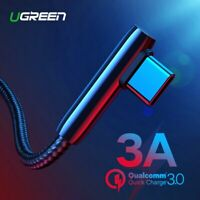 Ugreen Braided 90 Degree USB C Cable USB to Type C 3A QC3.0 Fast Charging Cord