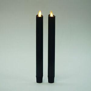 Luminara Flameless Halloween Black Taper Candles Battery Operated Wax Set of 2