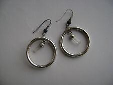 Sterling Silver Genuine Amethyst & Quartz Crystal Hoop Hook Earrings New