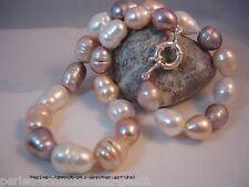 Collier Echte Perle Barock 12x15mm  / 46cm Multicolor Naturfarbe, 925er Silber