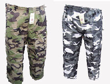 MENS 2 in 1 CAMO COMBAT CARGO ARMY ZIP OFF 3/4 TROUSERS & SHORTS CASUAL  M L XL