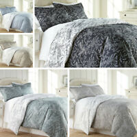 Ultra Soft 3-piece Reversible Winter Brush Floral Duvet Cover Set