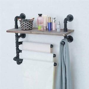 Industrial Pipe Wooden Wall Shelf Hanging Mounted Shelves with 3 Towel Bar Rails