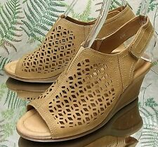 EARTH BROWN LEATHER OPEN TOE SLINGBACK SANDALS DRESS SHOES HEELS WOMENS SZ 8.5 D