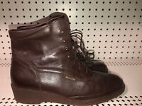 Mephisto Womens Leather Mid Calf Wedge Boots Booties Size US 9.5 EUR 7 Brown
