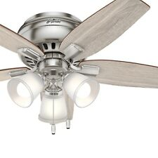 """Hunter 42"""" Low Profile Ceiling Fan in Brushed Nickel with 3 Led Lights"""