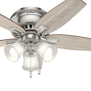 "Hunter 42"" Low Profile Ceiling Fan in Brushed Nickel with 3 LED Lights"