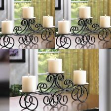 """3 Tuscan Scroll Candelabra Large 17"""" Pillar Candle Holder Table Centerpieces"""