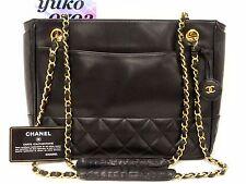 b6792 Auth CHANEL Black Lambskin Shoulder Shopper Tote Chain Bag Gold Hardware