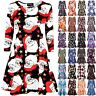 Womens Ladies Xmas Long Sleeve Santa Gift Tree Christmas Swing Flared Mini Dress