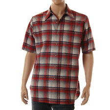 Vintage 60s Mens Pendleton Shirt Red Gray Shadow Plaid Wool Short Sleeve M