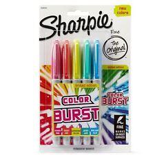 Sharpie Permanent Marker Pens - Fine Point - Colour Burst Coloured Markers x 5