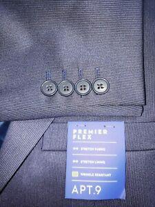 NWT Apt 9 Mens 40S Dark Blue Stripe Stretchy Slim Fit Two Btn Blazer/Suit Jacket