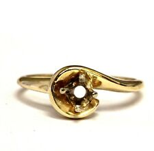 14k yellow gold solitaire semi mount engagement ring  2.7g estate vintage