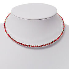 Thin Diamante Choker Necklace (Hot Red)