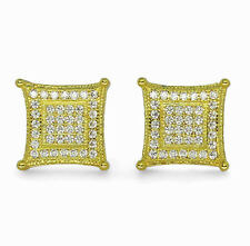 Mens 10mm Kite Studs 14k Gold Plated Micro Pave Cz Screw Back Earrings Hip Hop