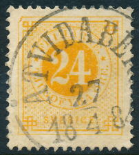 Sweden Scott 34/Facit 34j, 24ö orange Ringtyp p.13, F-Vf U ÅTvidaberg cancel, Pr
