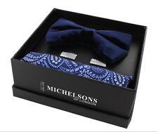 Navy Velvet Bow Tie, Blue Paisley Silk Pocket Square & Cufflink Gift Set