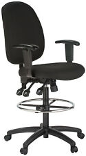 Harwick Ergonomic Black Fabric Drafting Chair with Free Delivery