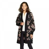 New A New Day Women's Floral Bishop Sleeve Open Cardigan Sweater