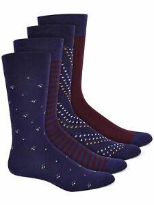 ALFANI 4 Pack Navy Dress Crew Socks 10-13