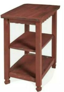 ALATERRE ACCA02RA Country Cottage 2 Shelf End Table, Red Antique Finish NIB