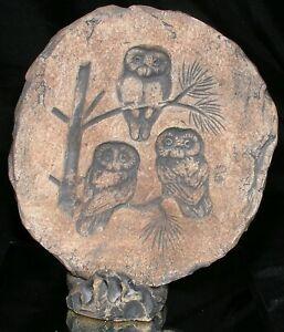 Hand Carved Stone Owls Wall Hanging or Desk Folk Art Brown Vtg Signed 7X7.5 In