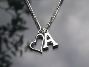 Personalised Initial Necklace Heart Outline Pendant & Silver Plated Letter 16-30