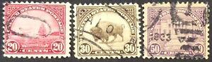 1931 20c, 30c & 50c regular issue singles, Scott #698, 700-01, Used, F-VF