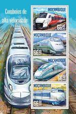 Mozambique 2016 MNH High Speed Trains Shinkansen Velaro 4v M/S Railways Stamps