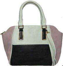 Colour Block Fashion Handbag Pink/ Black/ White