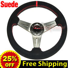 """JDM 350mm 14"""" SUEDE LEATHER FLAT DISH Racing Steering Wheel RED Stitch TITANIUM"""