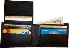 New man's slim leather bi-fold wallet 9 credit debit card holder 2 billfolds ID.
