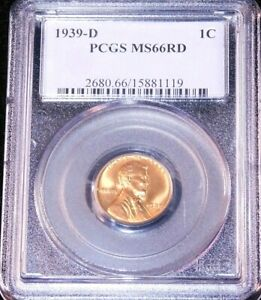 1939-D Lincoln Wheat Cent PCGS MS66RD Bright Red Great Luster, PQ #GC518