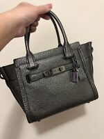 NEW-COACH Dark Gunmetal Pebbled Leather Swagger Carryall 21 Satchel 37444 NWT