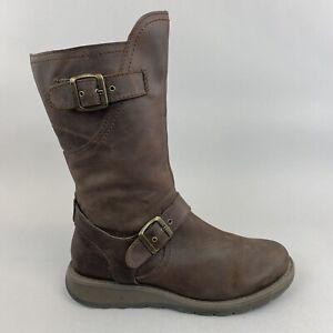 Moshulu Nightjar Mid Calf Chocolate Brown Leather Zip Up Wedge Boot 40 UK6.5 - 7