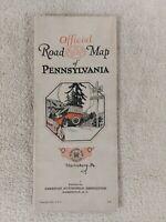 AAA MAP Pennsylvania 1924 VINTAGE travel ROADS cars Retro Advertising STREETS