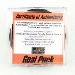2019-20 Joel Farabee Philadelphia Flyers Game-Used Goal-Scored Puck -Playoffs!